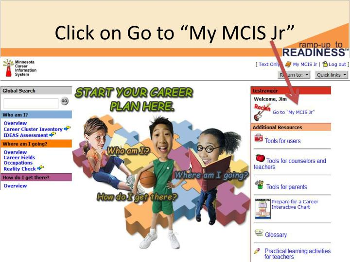 """Click on Go to """"My MCIS"""