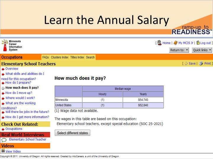 Learn the Annual Salary