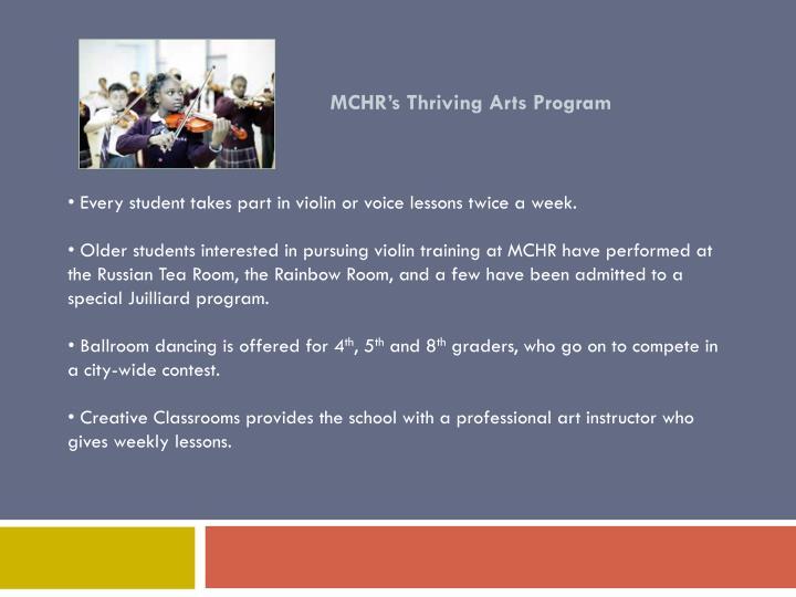 MCHR's Thriving Arts Program