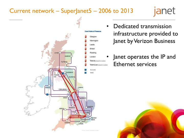 Current network – SuperJanet5 – 2006 to 2013