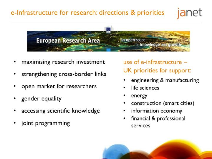 e-Infrastructure for research: directions & priorities