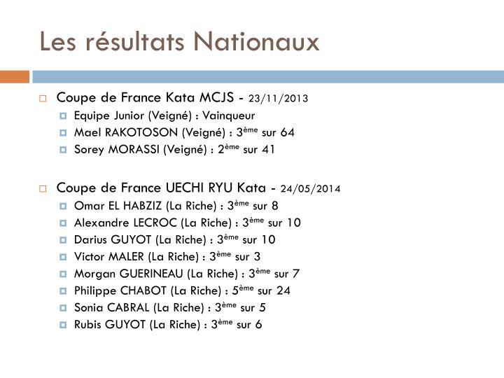 Les résultats Nationaux