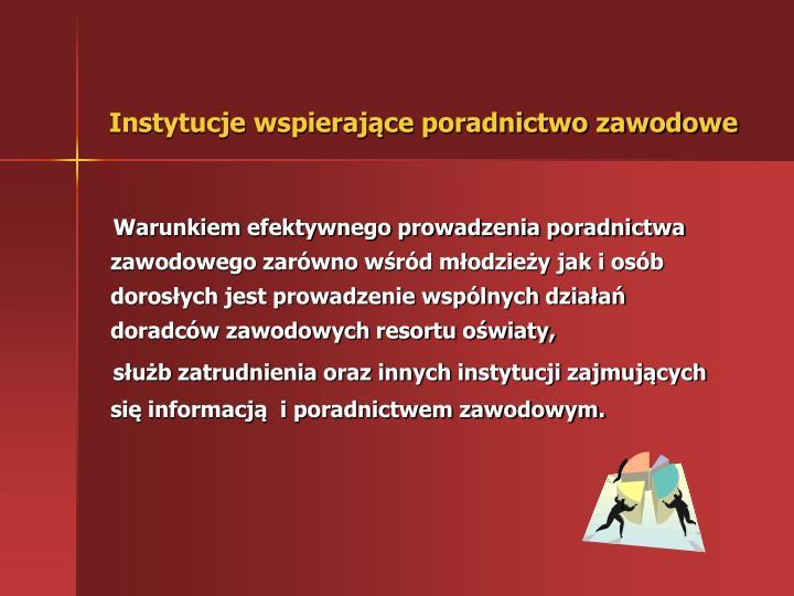 Instytucje wspierające poradnictwo zawodowe