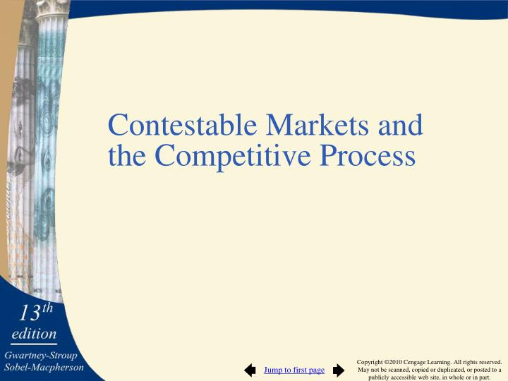 Contestable Markets and