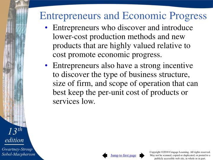 Entrepreneurs and Economic Progress