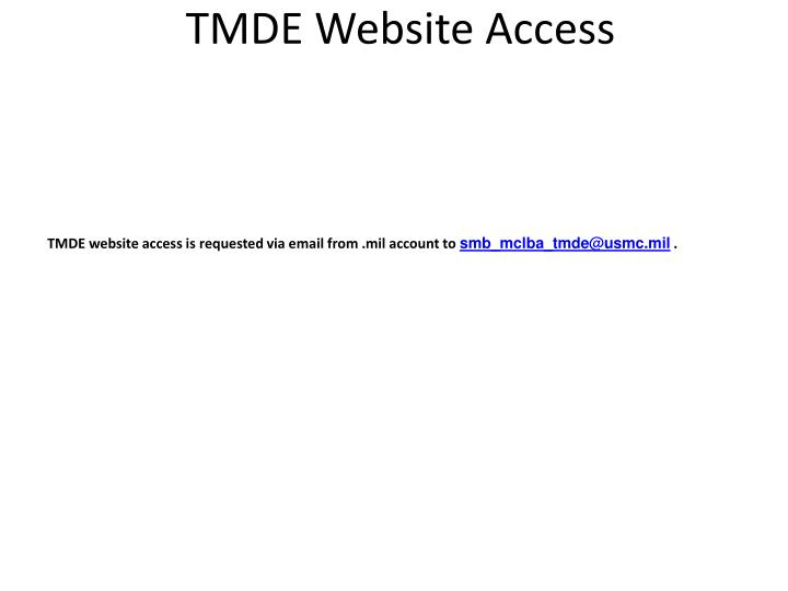 Tmde website access