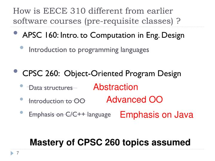 How is EECE 310 different from earlier software courses (pre-requisite classes) ?