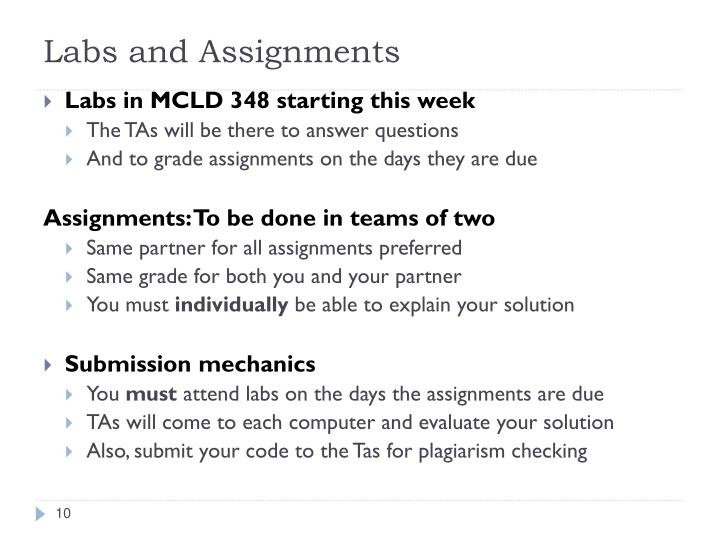 Labs and Assignments