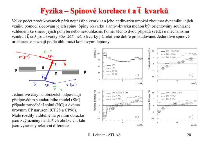 Fyzika – Spinové korelace t a t  kvarků