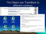 the object can trackback to different contexts