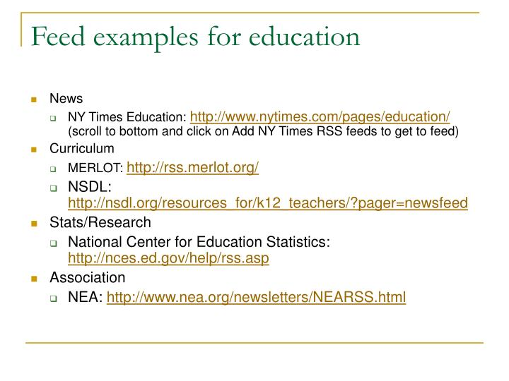 Feed examples for education