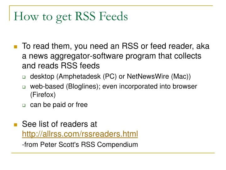 How to get RSS Feeds