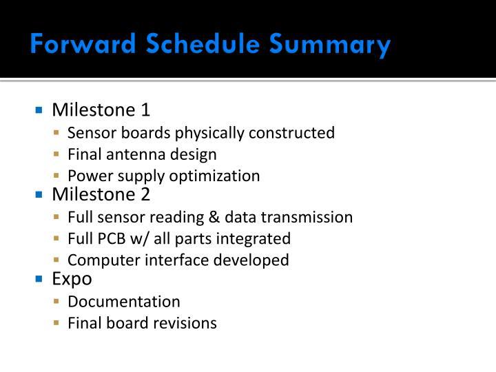 Forward Schedule Summary