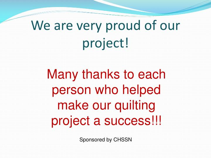 We are very proud of our project!