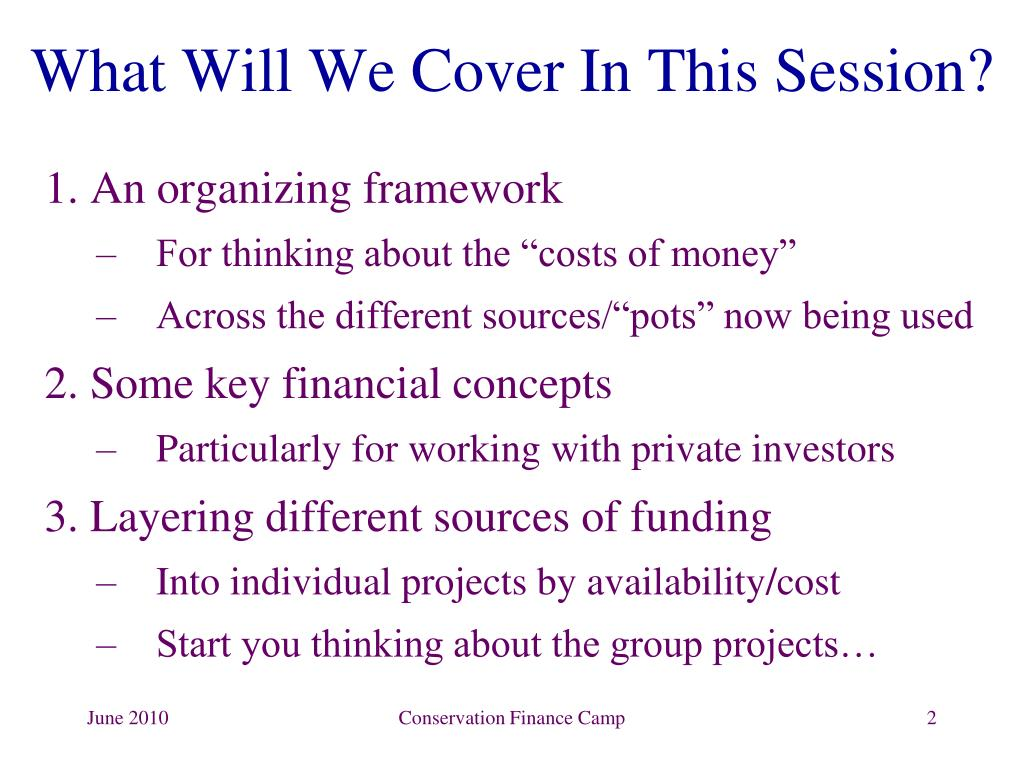 PPT - Conservation Finance: Framework & Basic Concepts