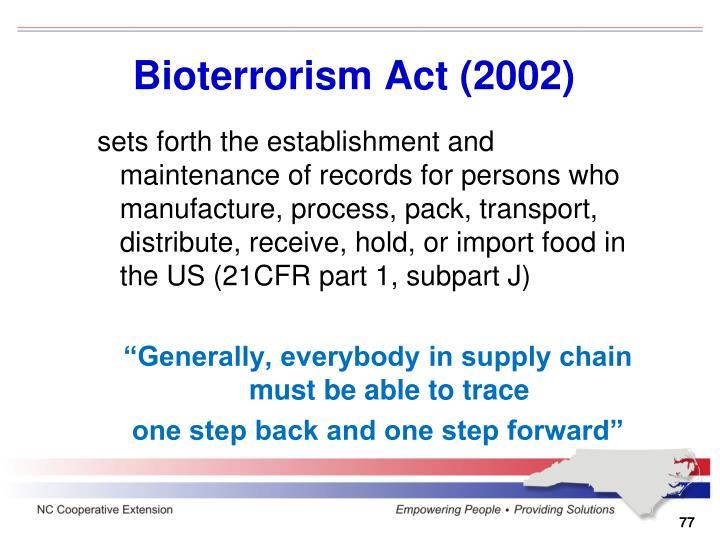 Bioterrorism Act (2002)
