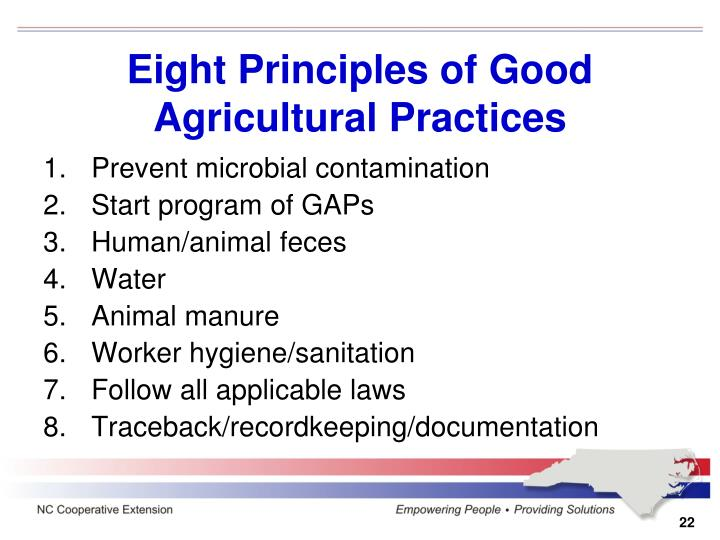Eight Principles of Good Agricultural Practices