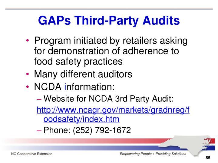 GAPs Third-Party Audits