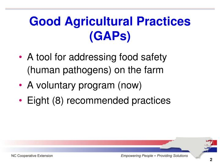 Good agricultural practices gaps