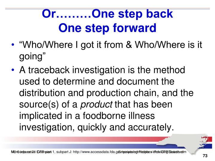 Or………One step back