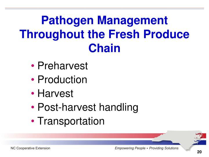 Pathogen Management Throughout the Fresh Produce Chain