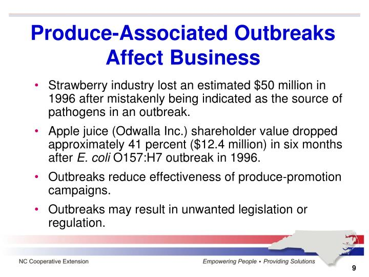 Produce-Associated Outbreaks Affect Business