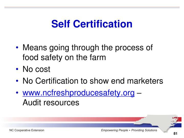 Self Certification