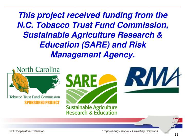 This project received funding from the N.C. Tobacco Trust Fund Commission, Sustainable Agriculture Research & Education (SARE) and Risk Management Agency.