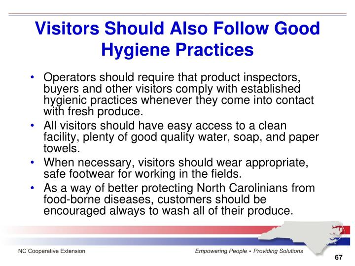 Visitors Should Also Follow Good Hygiene Practices