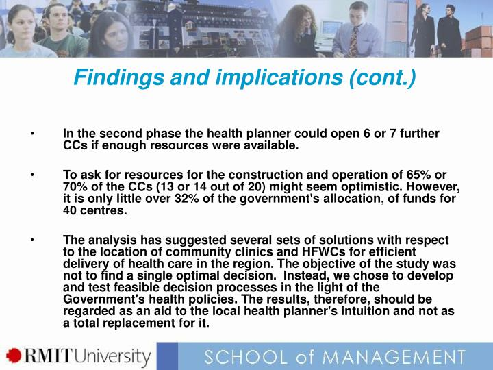 Findings and implications (cont.)