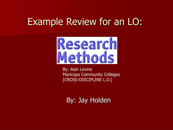Example Review for an LO: