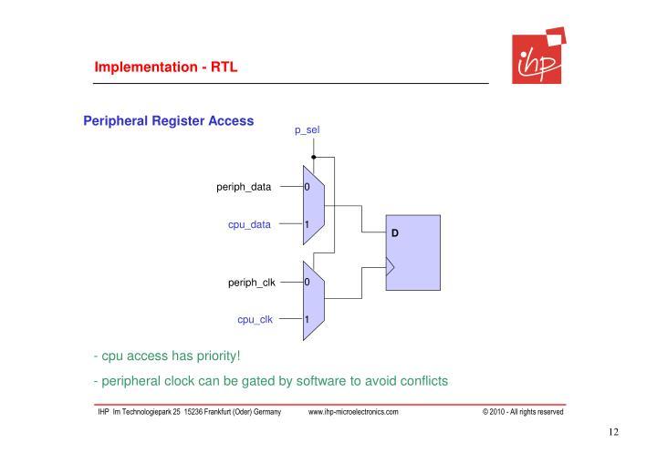Implementation - RTL