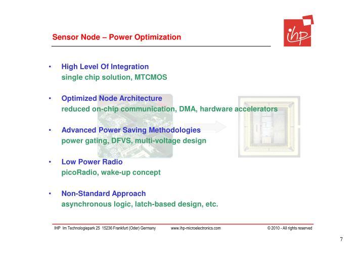 Sensor Node – Power Optimization