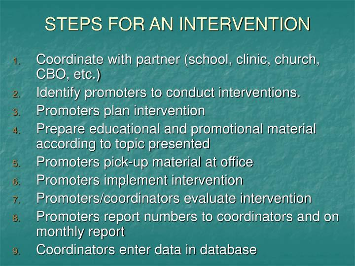 STEPS FOR AN INTERVENTION