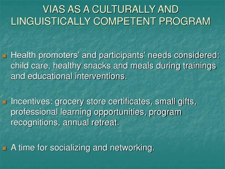 VIAS AS A CULTURALLY AND LINGUISTICALLY COMPETENT PROGRAM