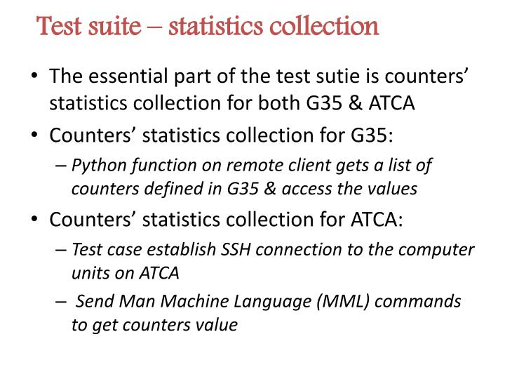 Test suite – statistics collection