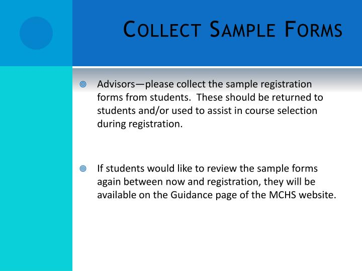 Collect Sample Forms