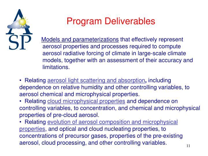 Program Deliverables