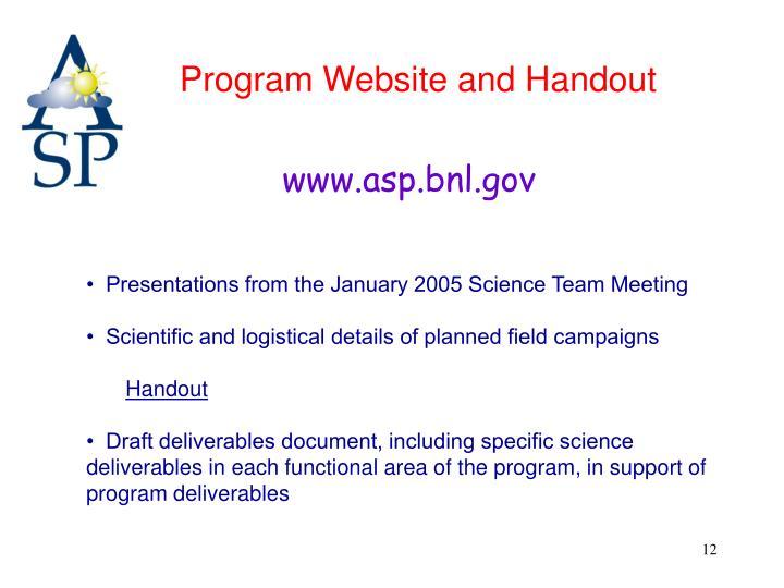 Program Website and Handout