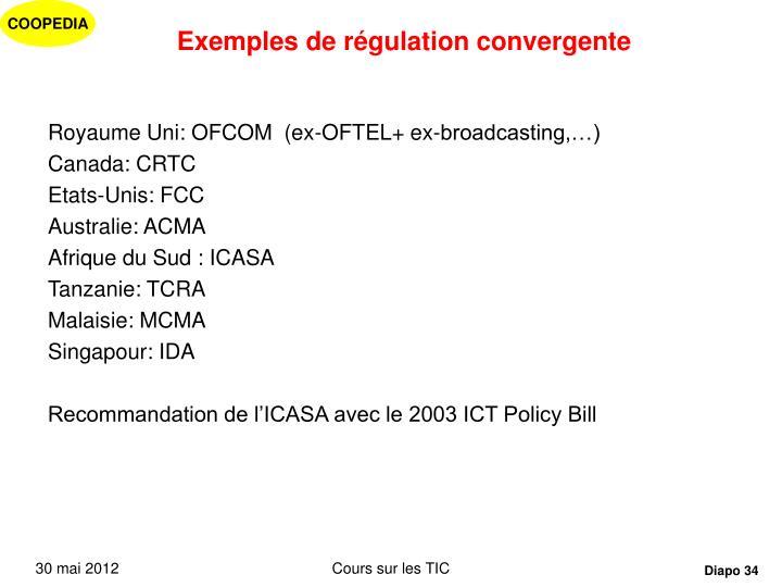 Exemples de régulation convergente