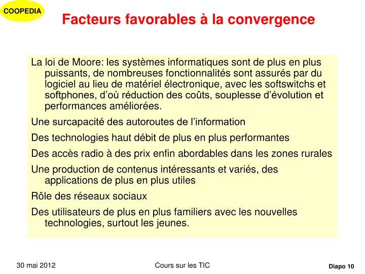 Facteurs favorables à la convergence