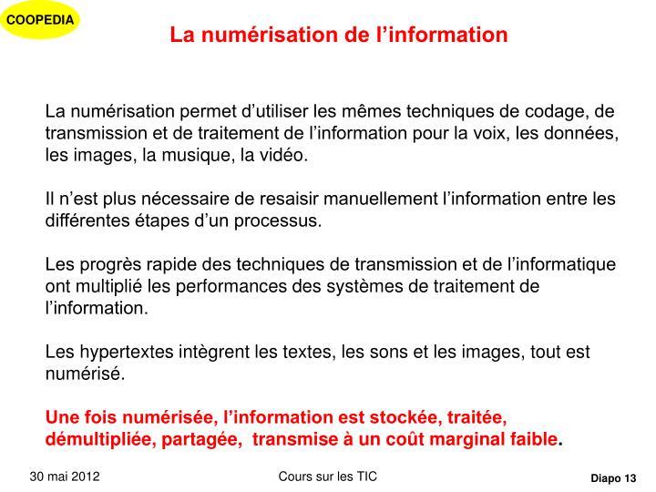 La numérisation de l'information