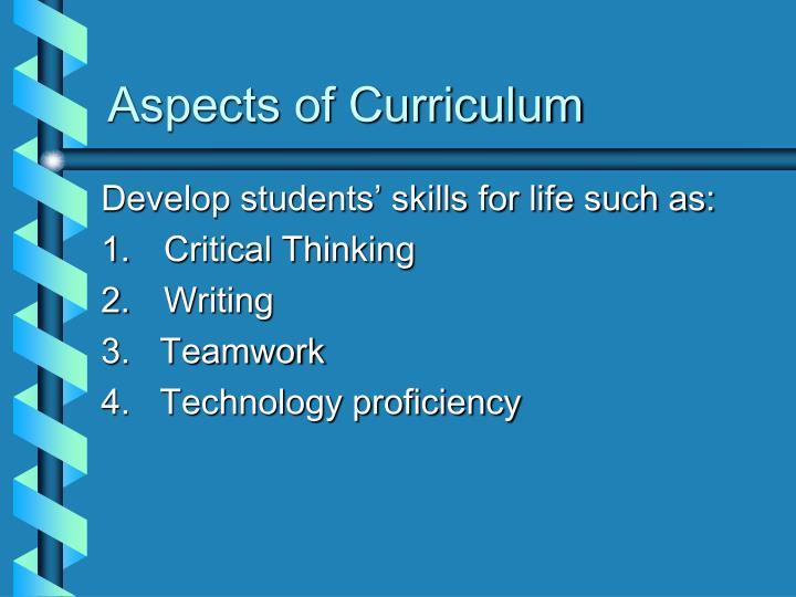 Aspects of Curriculum