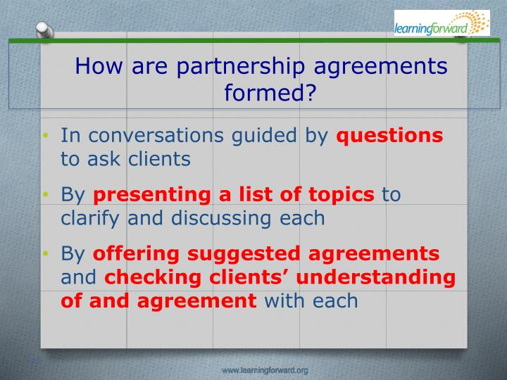How are partnership agreements formed?