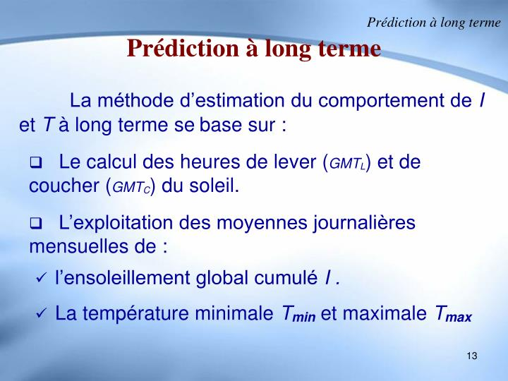 Prédiction à long terme