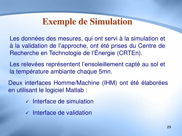 Exemple de Simulation