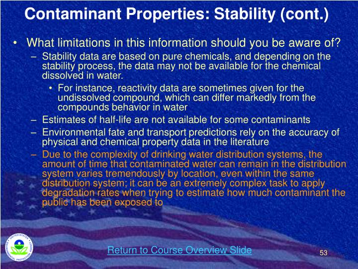 Contaminant Properties: Stability (cont.)