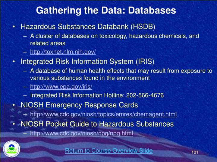 Gathering the Data: Databases
