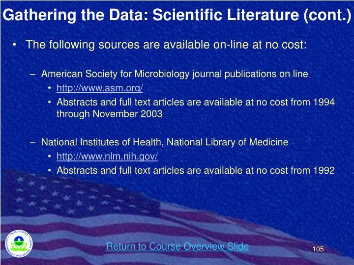 Gathering the Data: Scientific Literature (cont.)