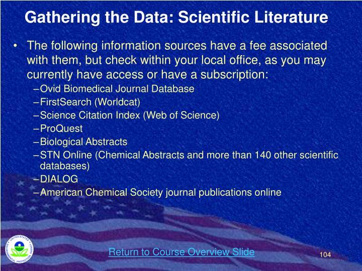 Gathering the Data: Scientific Literature